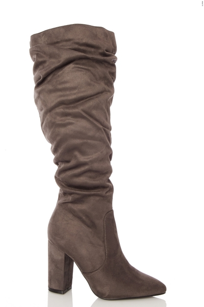 Wide Fit Grey Ruched Knee High Boots